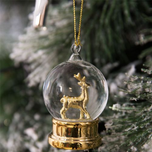 Gold Reindeer Christmas Tree Bauble Decoration Crystal Glass Ball Tree Ornament